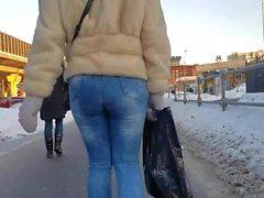 kışın dar kot güzel yuvarlak göt