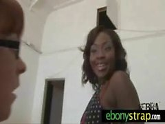 White lesbian fucked by black beauty with strapon 27