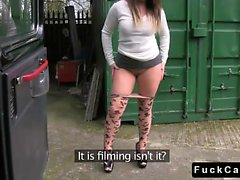 British babe in pantyhose fucking in fake taxi