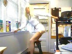 Denise Adams crossdresser plays with a dildo