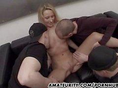Amateur girlfriend sucks and fucks 3 dicks