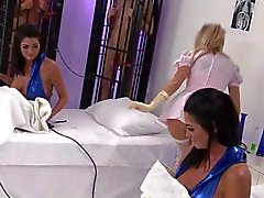 British Female twins and blonde get fucked in the lab