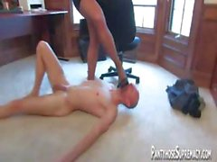 Blonde mistress Dia Zerva wears pantyhose as she abuses slave