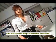 Japanese AV model in sexy stockings is fondling her juicy pussy