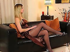 Black pantyhose and angelic hot lingerie