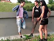 Extreme PUBLIC gangbang orgy with a busty teen girl Part 1