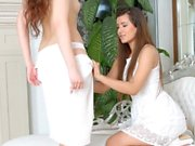 Cindy Bubble and Leyla Bentho in lesbian scene by Sapphic