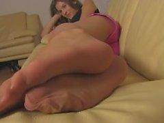 Nylon Feet & Toes Tease 1