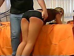 American pornstar Paige Adams spanked by old man