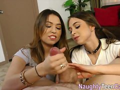 Two teens learning how to please guys