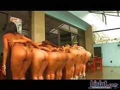 Naked girls lining up