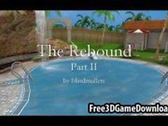 Kolme kaunista 3D-sarjakuva Babes hauskaa ulkona uima-altaalla