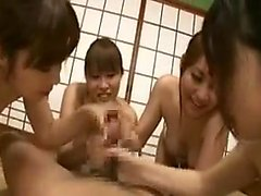 Lucky man has four horny Asian milfs working their magic on