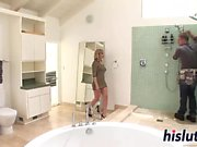 Intense bathroom threesome starring gorgeous Adrianna Nicole