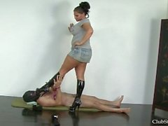Beautiful goddess trample her slave