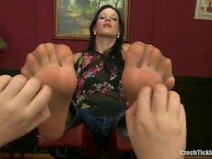 mila sexy feet in nylon tickled