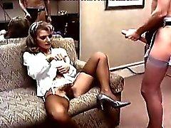 De sotavento de Caroll , Sharon de Kane en el el coño peludo comido y