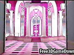 Vackra 3 tecknad rosa palats där du kan fan