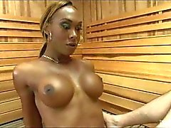 Black Tranny Fucks Him in a Sauna!