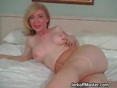 Sexy blonde MILF is stripping part4
