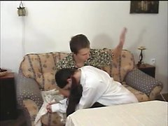 Brunette is put over his knee and then bends over to get spanked