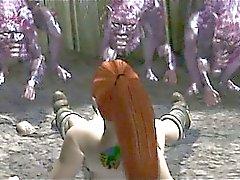 Horny redhead för Hentai siren fittan fastspikad av monster
