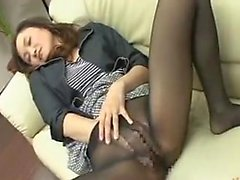 Alluring Asian milf in pantyhose has a juicy slit longing f