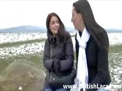 MILF meets young slut outdoors for lesbian fun