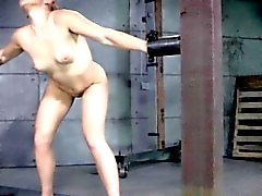 Restrained submissve penetrated by dom