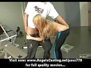 Adorable amateur blonde babe doing blowjob and tits fucked in the fitness room