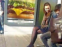 Candid pantyhose stop bus