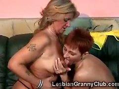Old lezzie makes ginger granny squeal with her sneaky tongue