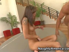 Tattooed leggy brunette Chayse Evans gets slammed