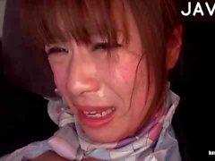 Japanese slut in black pantyhose