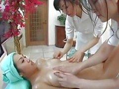 Japanska lesbisk trekant Massage