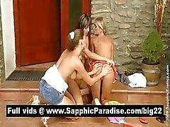Superb lesbos slickar och FINGRANDE fitta i en stor tre sätt lesbo orgie