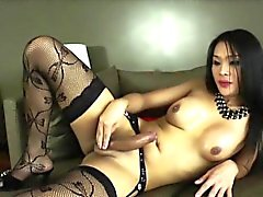 Ladyboy Fanta in handful masturbation