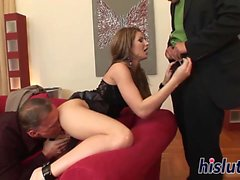 Raunchy brunette hussy and two massive boners