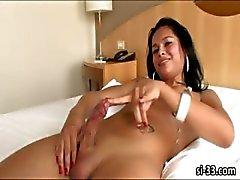 Kırmızı sıcak transeksüel Babe Luana Lima jizzes