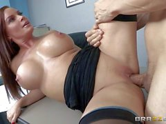 MILF Diamond Foxxx with perfect huge tits gets slam fucked by Her boss