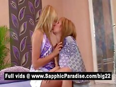 Amazing blonde lesbians kissing and licking nipples and having lesbian love