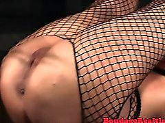 Caned sub straponfucked up her asshole