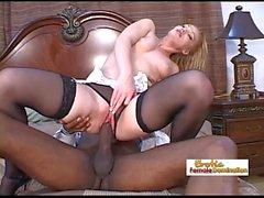 Slut in black stockings takes a huge ebony dick in the ass