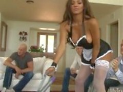 Big tits tranny maid Jessy Dubai enjoys double anal