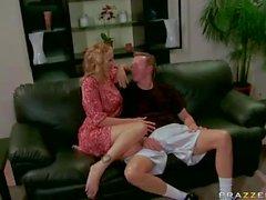 Anal loving busty mom Julia Ann takes two dicks