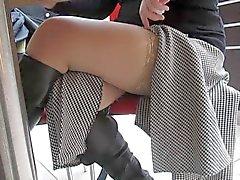Blinkenden stockings im Öffentlichkeit Café