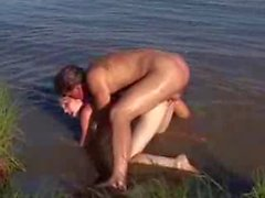 Nude Beach - Classic - Small Tit Redhead CIM Facial