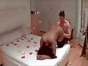 Ebony girl receive white dick in hotel - Saint Valentine\'s Day - homemade video