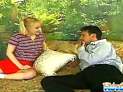 Hot 18 yo babysitter Melanie gets licked and fingered by