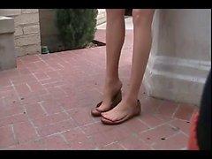 Yassı Külotluçorap bacaklar ile Shoeplay